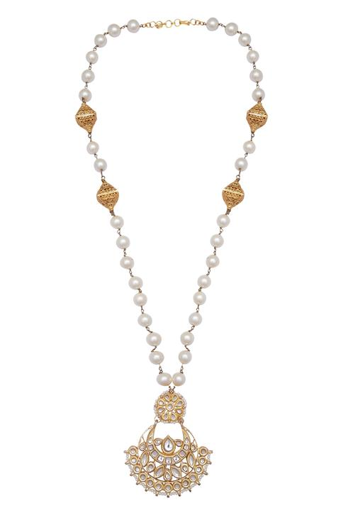 Pearl Long Chand Pendant Necklace