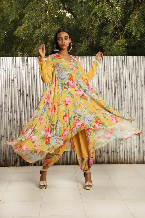 Floral Asymmetric Flared Tunic With Dhoti pants