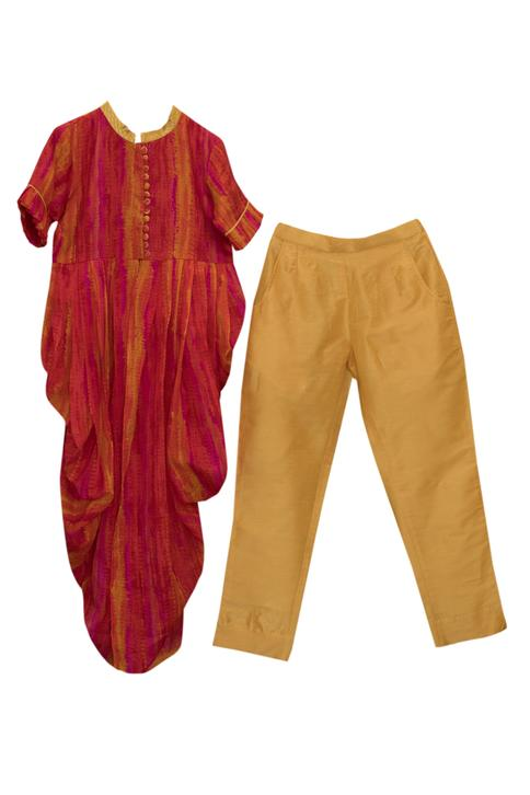 Shibori Cowl Kurta With Pants