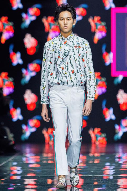 Floral printed draped kurta shirt