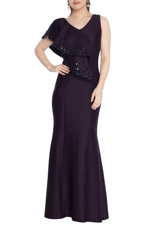 Bead Embellished Draped Gown
