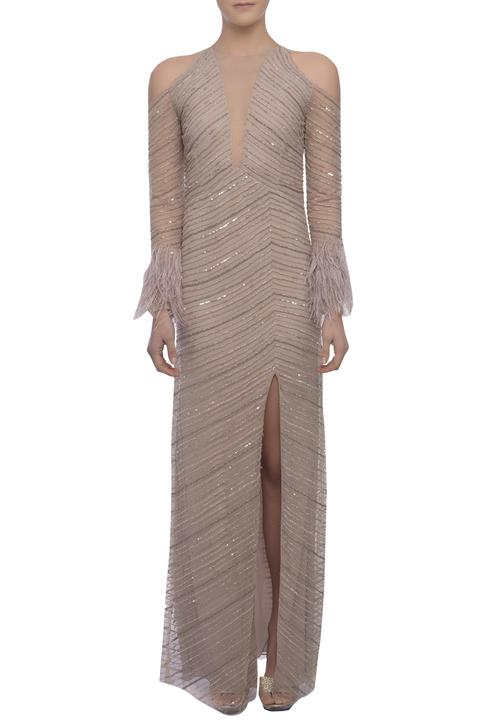 Embroidered High Slit Gown