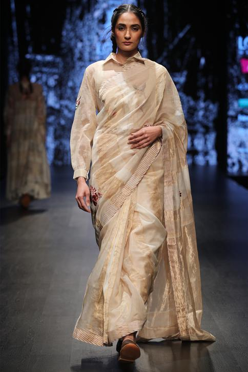 Saree with collared blouse