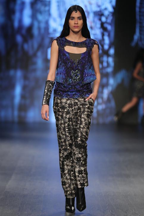 Embroidered top with pant