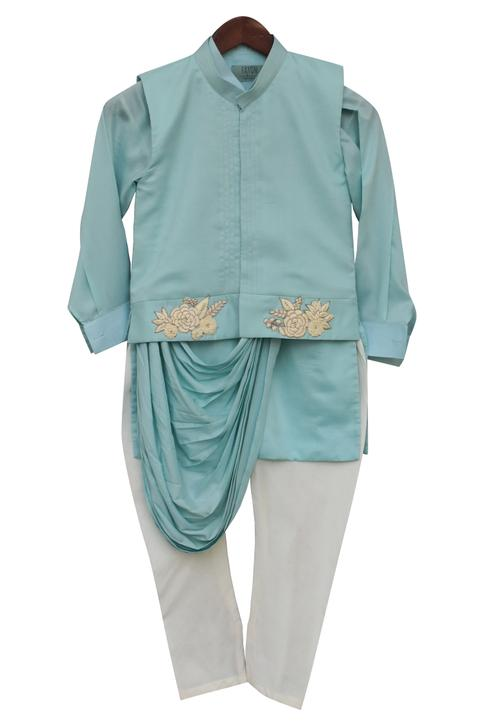 Embroidered Bundi, Kurta Set