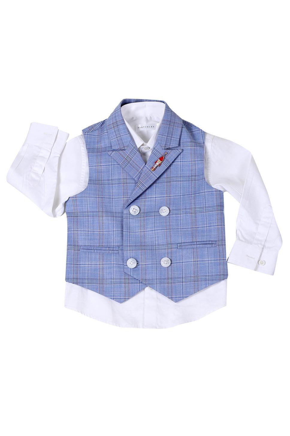 Plaid Waist Coat,Shirt & Trouser Set