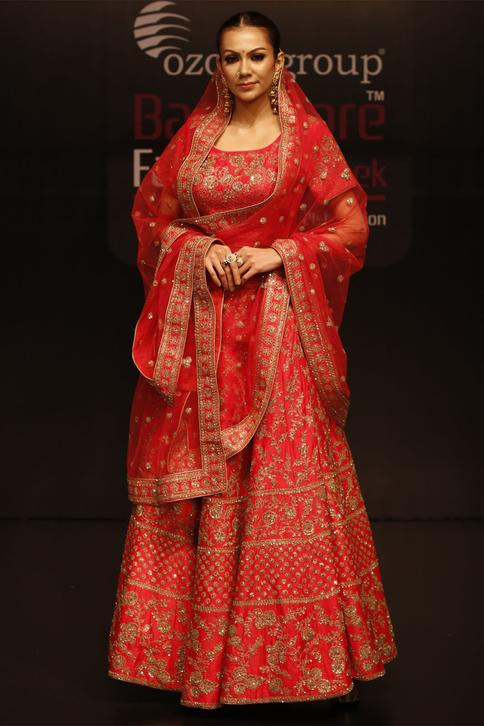 Chanderi Silk Embroidered Lehenga Set