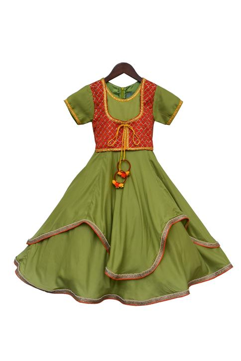 Embroidered Anarkali with Attached Jacket