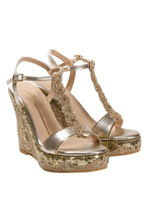 Embroidered Wedges with Ankle Strap