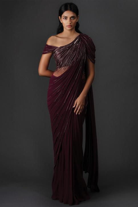 Embellished Draped Saree Gown