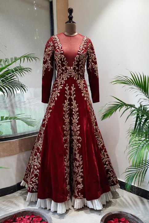 Pure Velvet Embroidered Gown