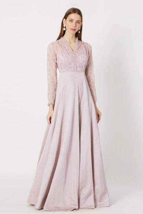 Geometric Embroidered Gown