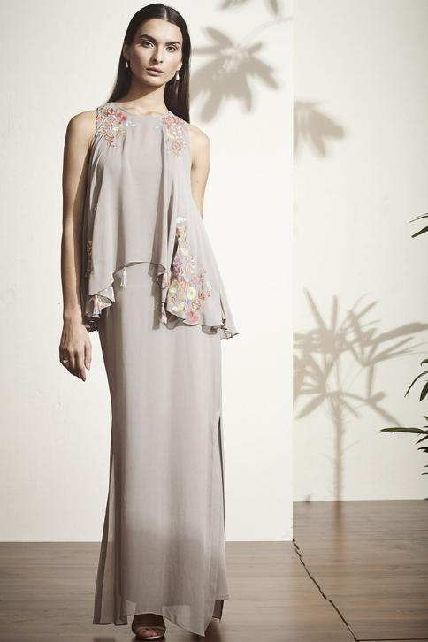 Embroidered Overlay Gown
