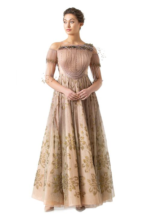 Embroidered Off Shoulder Gown
