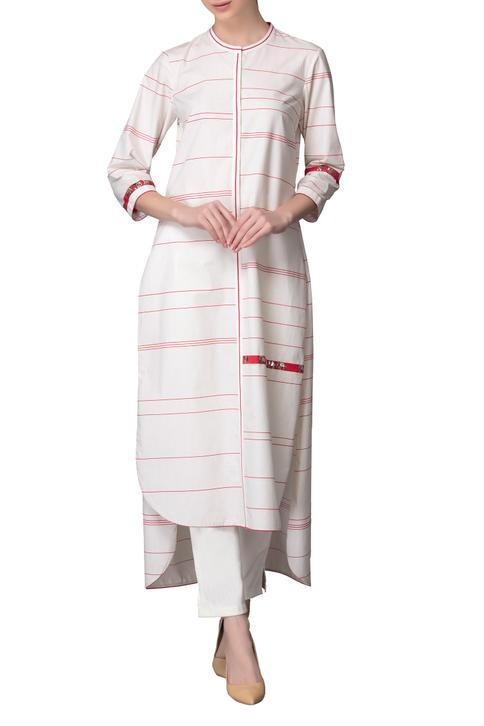 Ivory & red high low striped kurta with pants