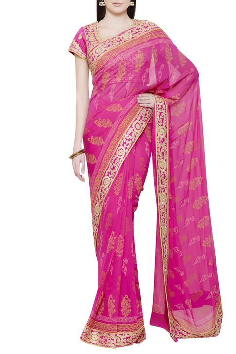 Pink saree with gota work