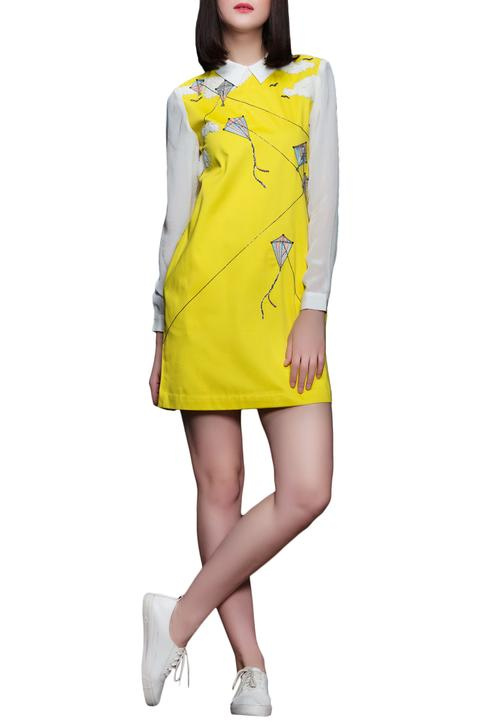 Yellow peter pan collar dress