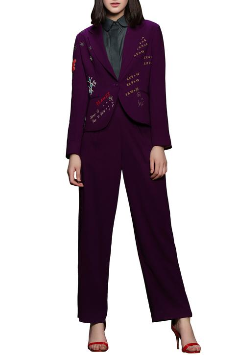 Purple embroidered blazer with pants