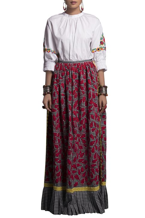 White embroidered shirt & maxi skirt