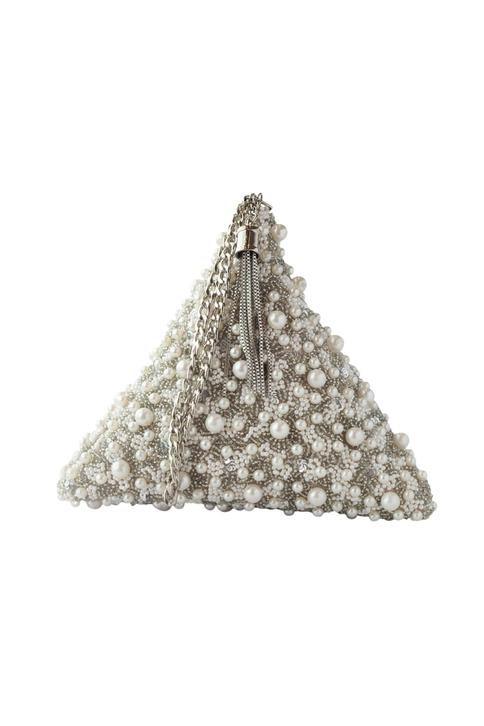 Silver pearl embellished clutch