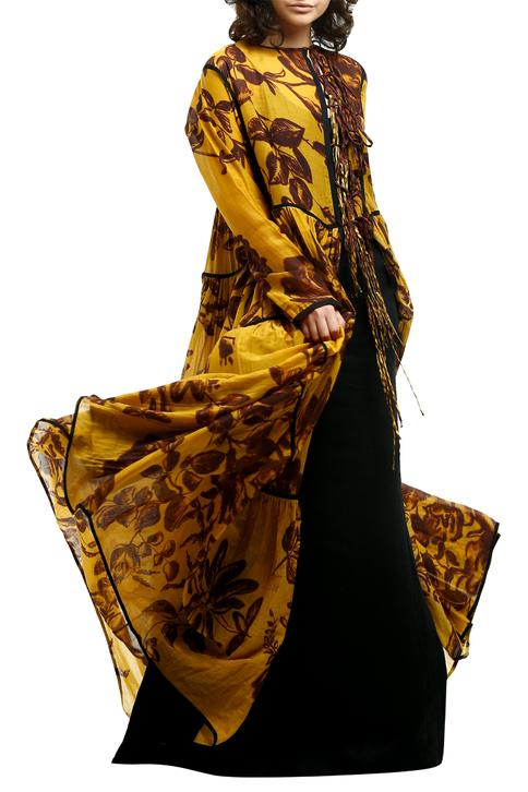 Yellow cotton silk front-open tie-up cape