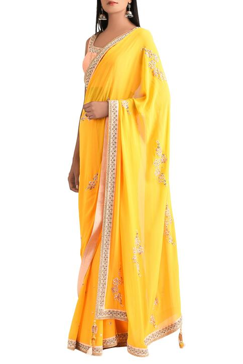 Sunrise orange georgette saree with blouse