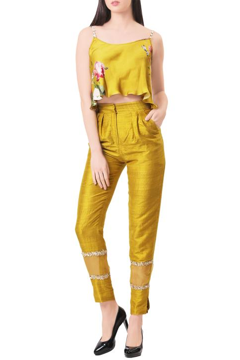 Mustard modal silk & raw silk flared blouse with panelled pants