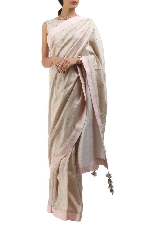 Grey cotton hand painted saree with blouse