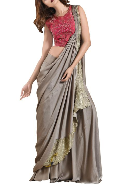 Sage green sharara pants with saree drape & pink blouse
