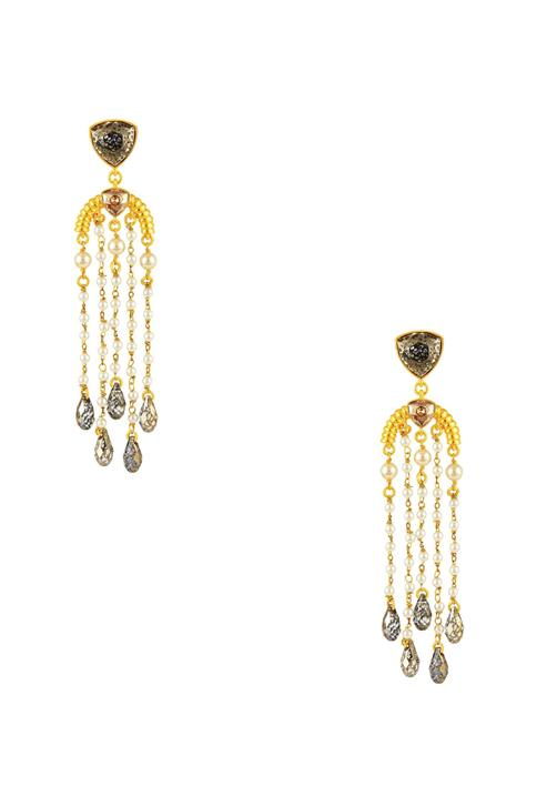 Gold plated briolette crystal drop earrings