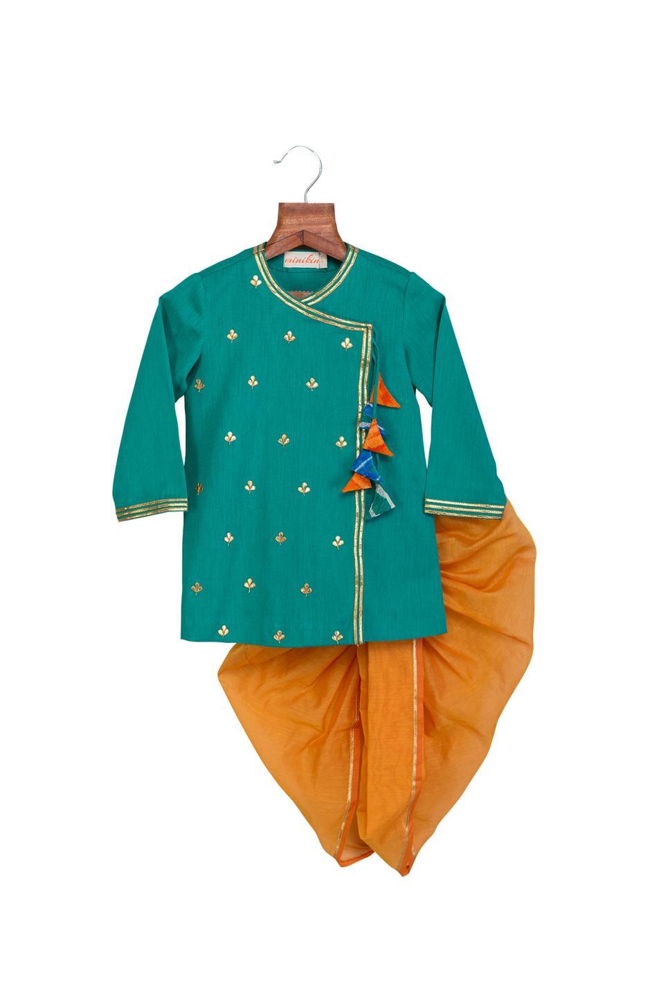 Turquoise & grey cotton linen & chanderi gota patti work & colorful tassels anghrakha with dhoti