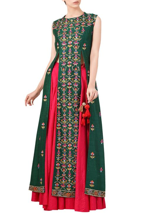 Embroidered Kurta Skirt Set
