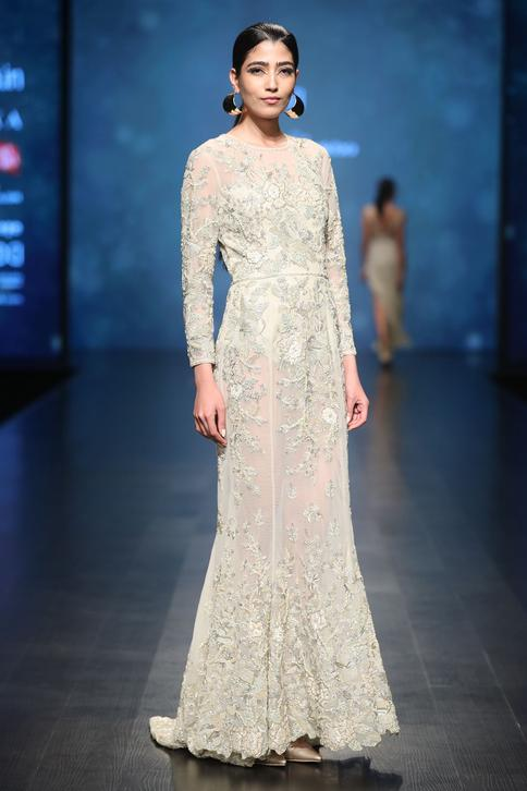 Embroidered Gown with Bodysuit