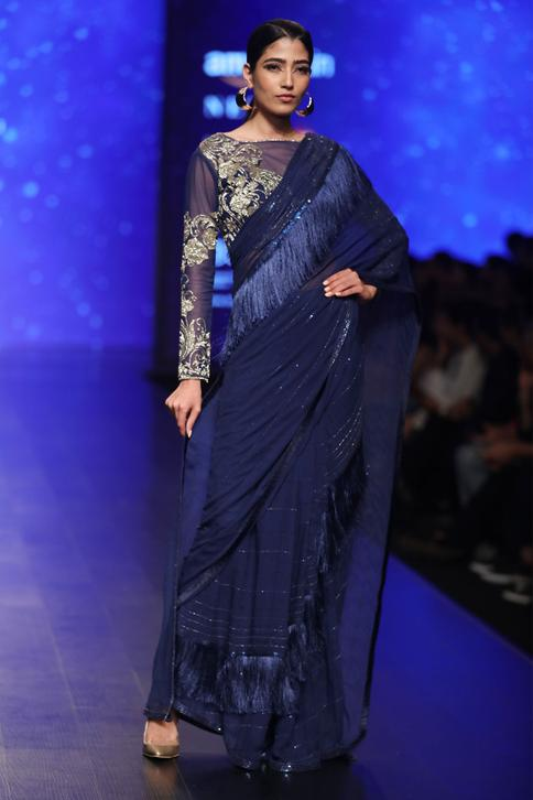 Blue chiffon silk tassel concept saree in sequins & beads with blouse