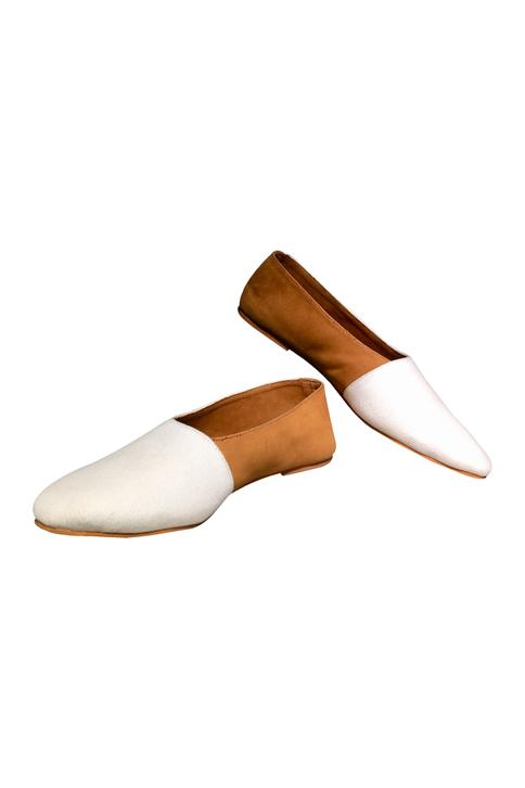 White & tan non-leather handcrafted flip side shoes