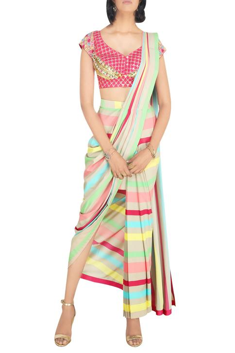 Multicolored pre-stitched crepe saree with coin work raw silk blouse