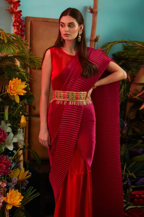 Pleated Saree Gown with Belt