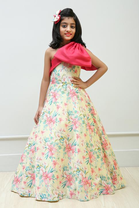 One Shoulder Floral Printed Gown