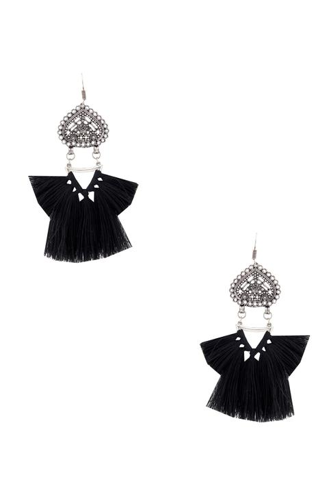 Black tasseled earrings