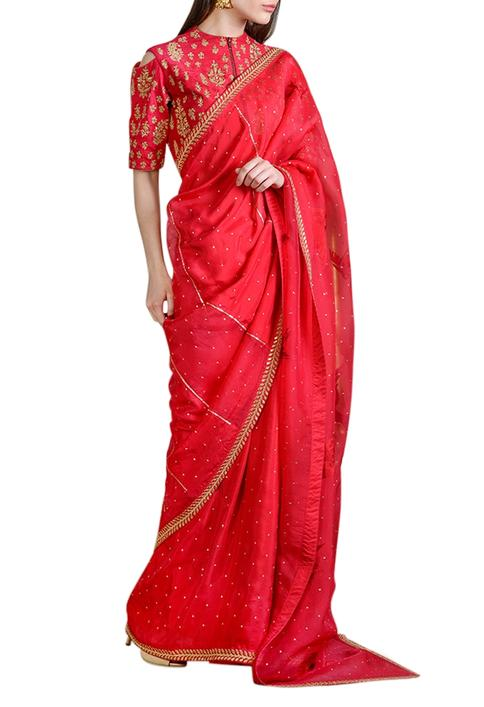 Raspberry red embellished saree with blouse