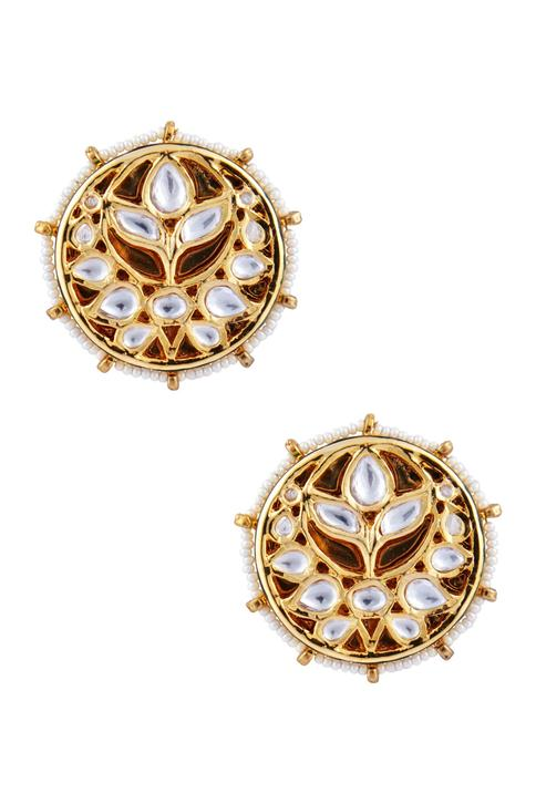 Kundan floral & pearl stud earrings