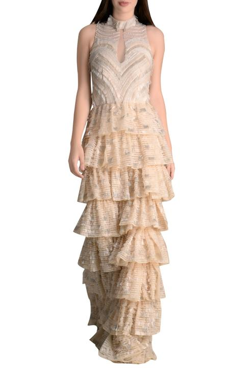 Sequin embroidered tulle net gown