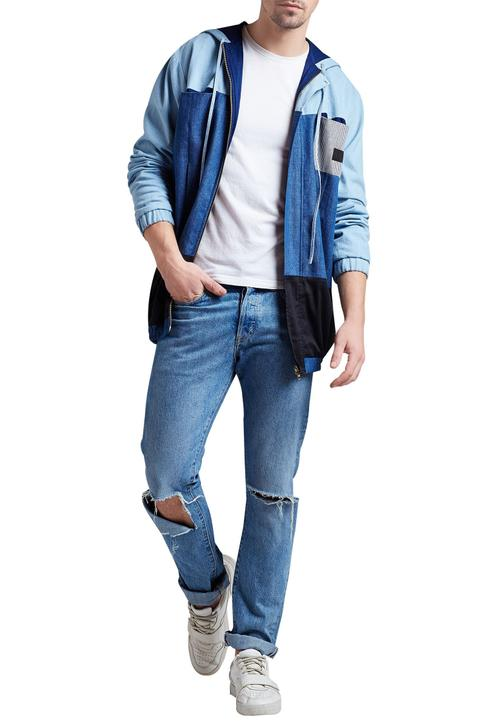 Denim panel style hoodie jacket
