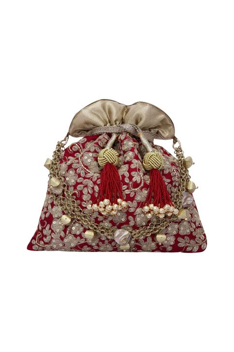 Floral haze maroon red potli with gold dori work