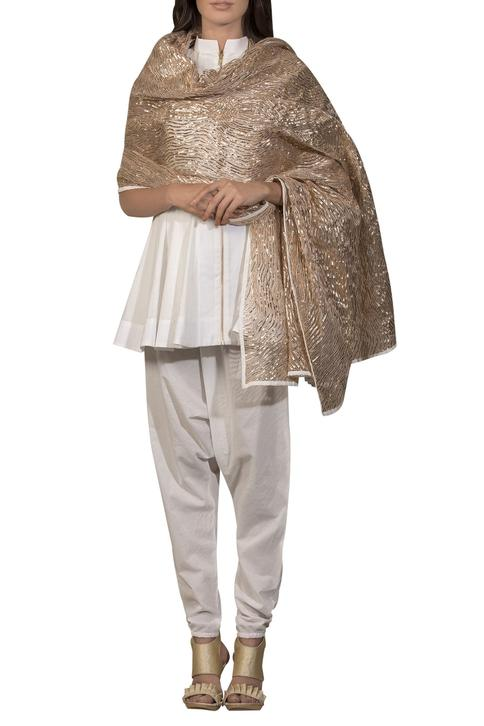 Short kurta with embroidered dupatta and salwar