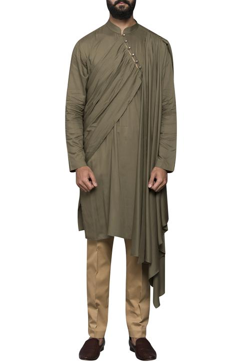 Asymmetric Draped Kurta