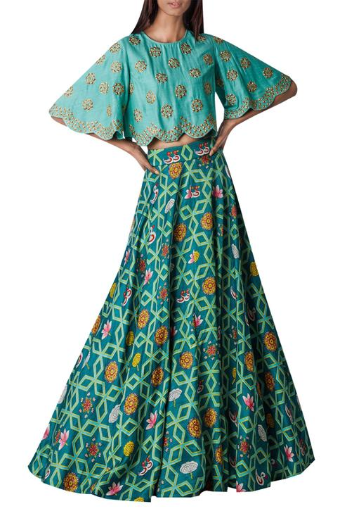 Embroidered cape with printed lehenga