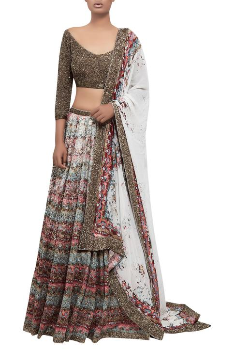 Ikat lehenga set with sequin embroidered blouse and dupatta
