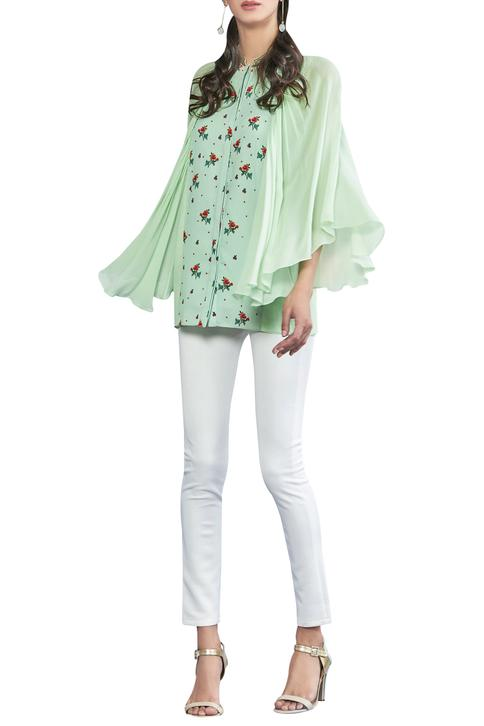 Pearl & sequin embroidered blouse