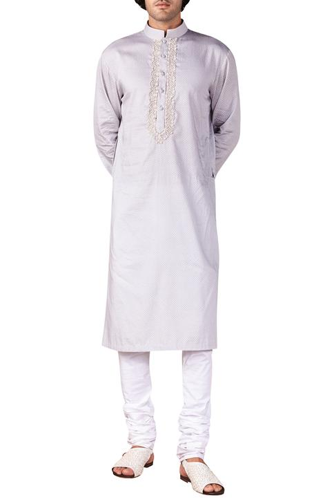 Scallop Print & Embroidered Kurta